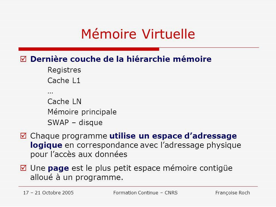 17 – 21 Octobre 2005 Formation Continue – CNRS Françoise Roch Mémoire Virtuelle Dernière couche de la hiérarchie mémoire Registres Cache L1 … Cache LN