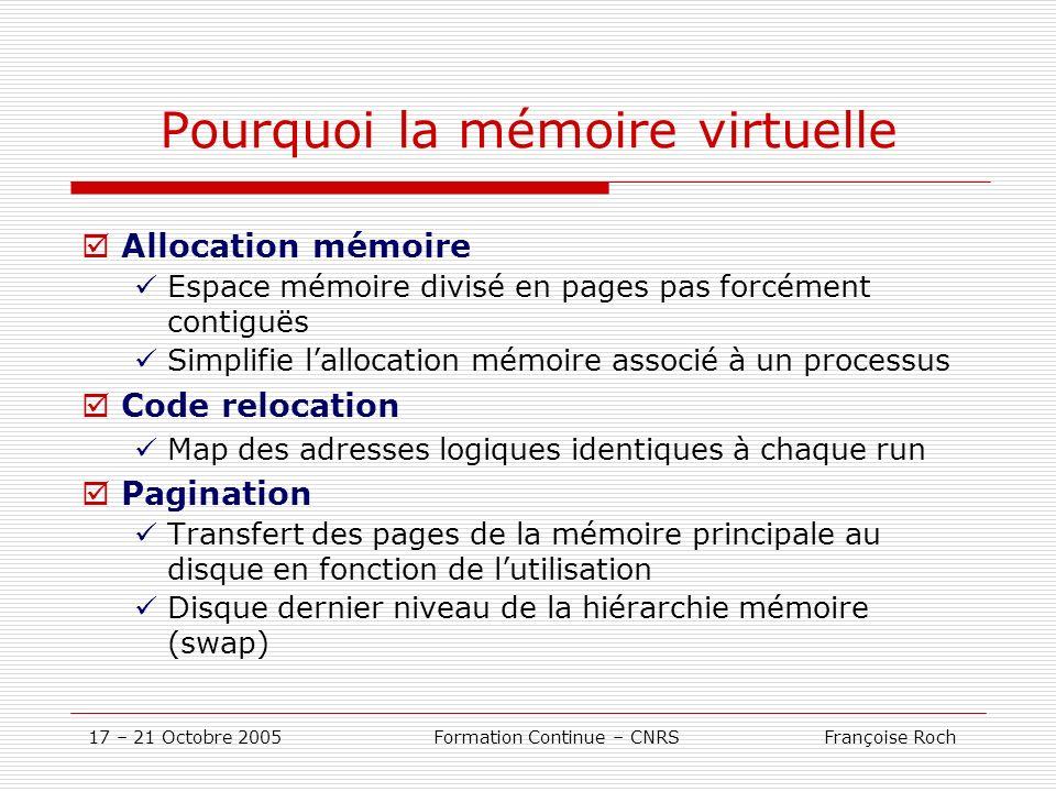 17 – 21 Octobre 2005 Formation Continue – CNRS Françoise Roch Pourquoi la mémoire virtuelle Allocation mémoire Espace mémoire divisé en pages pas forc
