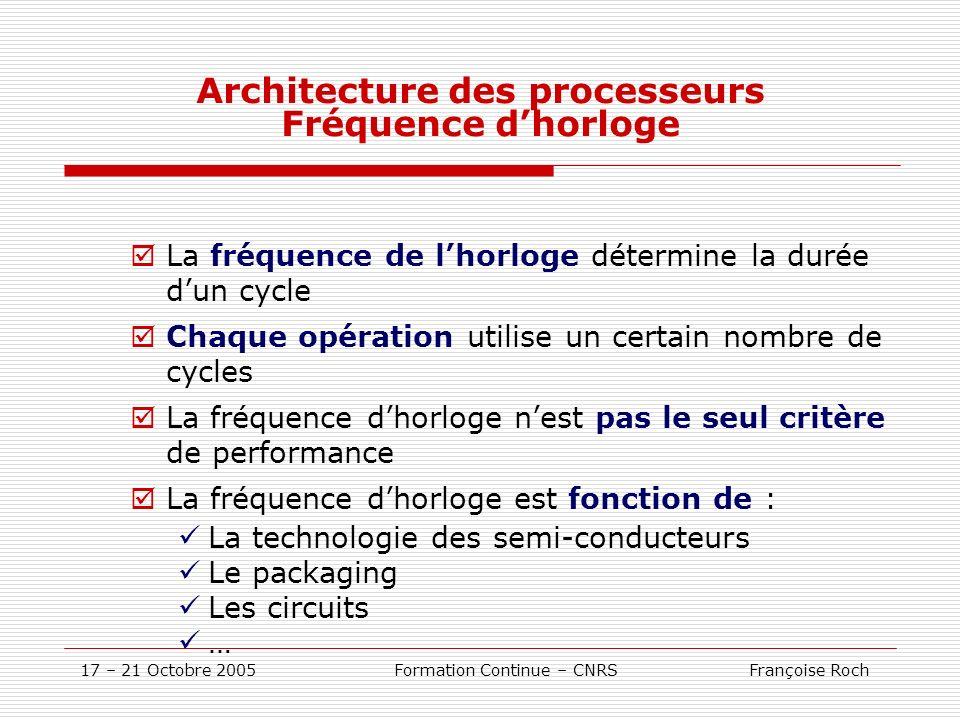 17 – 21 Octobre 2005 Formation Continue – CNRS Françoise Roch Architecture des processeurs Fréquence dhorloge La fréquence de lhorloge détermine la du