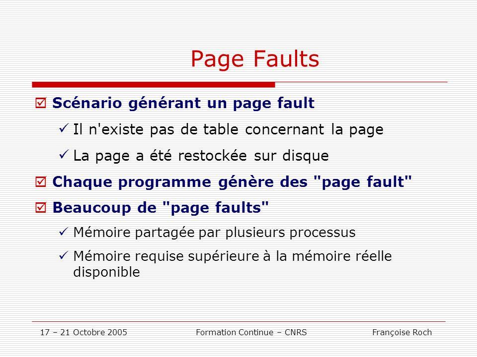17 – 21 Octobre 2005 Formation Continue – CNRS Françoise Roch Page Faults Scénario générant un page fault Il n'existe pas de table concernant la page