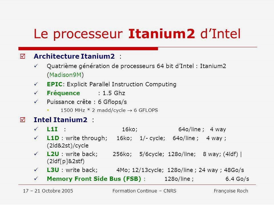 17 – 21 Octobre 2005 Formation Continue – CNRS Françoise Roch Le processeur Itanium2 dIntel Architecture Itanium2 : Quatrième génération de processeur