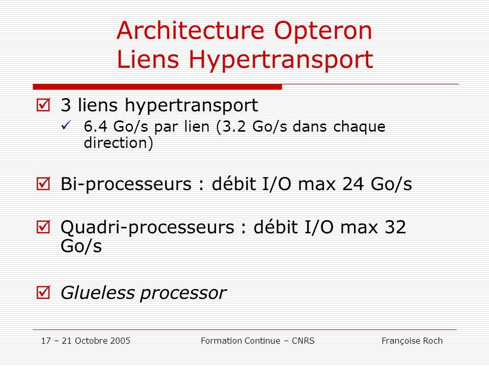17 – 21 Octobre 2005 Formation Continue – CNRS Françoise Roch Architecture Opteron Liens Hypertransport 3 liens hypertransport 6.4 Go/s par lien (3.2