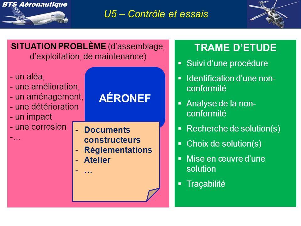 BTS Aéronautique SITUATION PROBLÈME (dassemblage, dexploitation, de maintenance) - un aléa, - une amélioration, - un aménagement, - une détérioration