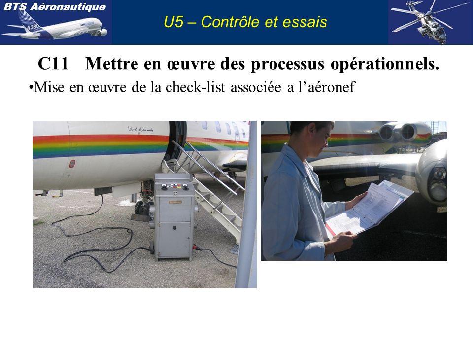 BTS Aéronautique U5 – Contrôle et essais C11Mettre en œuvre des processus opérationnels. Mise en œuvre de la check-list associée a laéronef