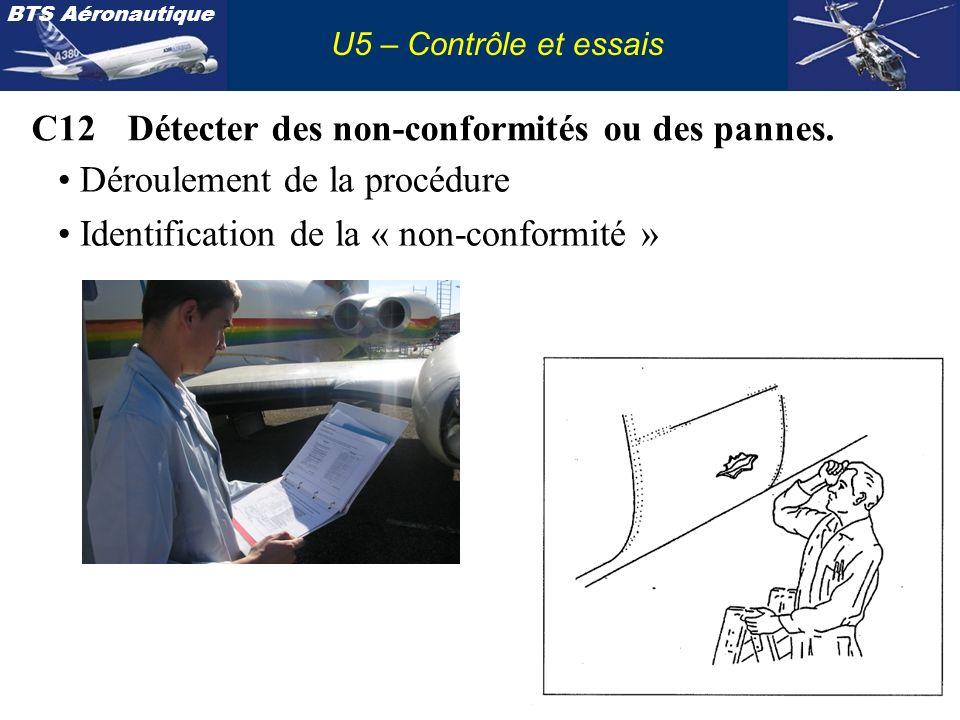 BTS Aéronautique U5 – Contrôle et essais C12Détecter des non-conformités ou des pannes. Déroulement de la procédure Identification de la « non-conform