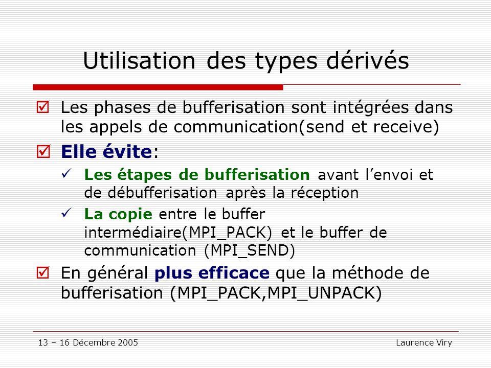13 – 16 Décembre 2005 Laurence Viry Utilisation des types dérivés Les phases de bufferisation sont intégrées dans les appels de communication(send et