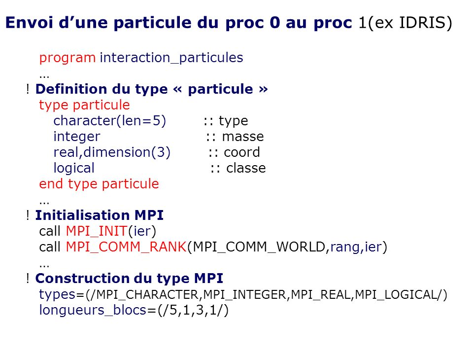 program interaction_particules … ! Definition du type « particule » type particule character(len=5) :: type integer :: masse real,dimension(3) :: coor