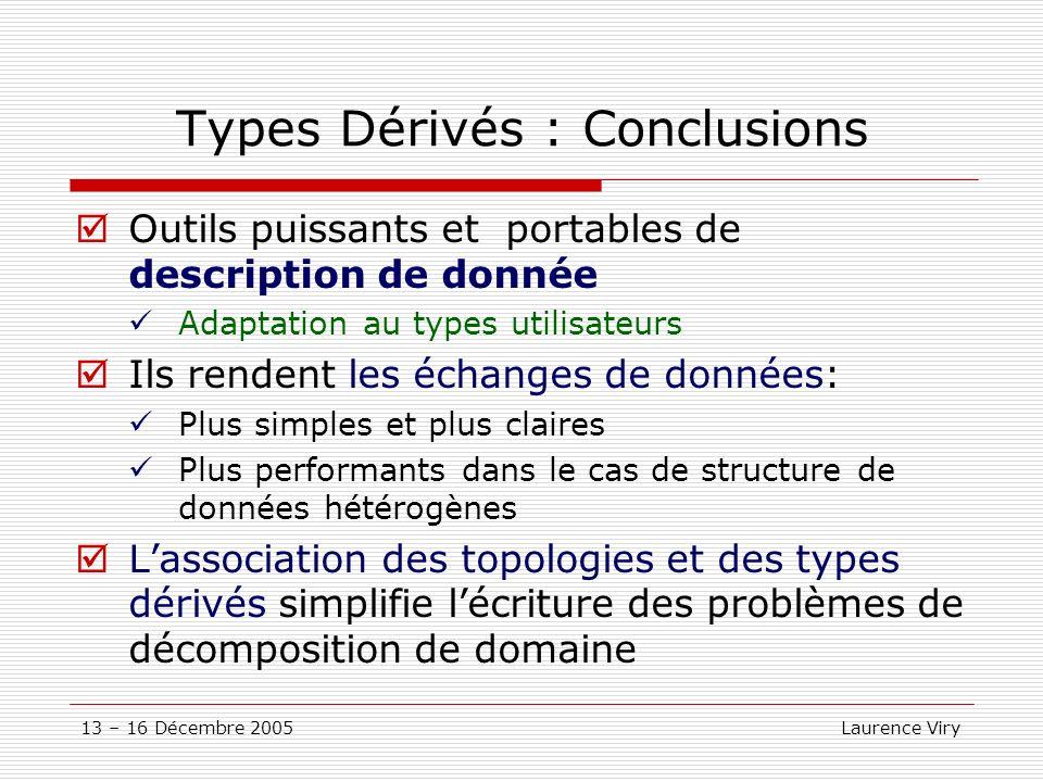 13 – 16 Décembre 2005 Laurence Viry Types Dérivés : Conclusions Outils puissants et portables de description de donnée Adaptation au types utilisateur