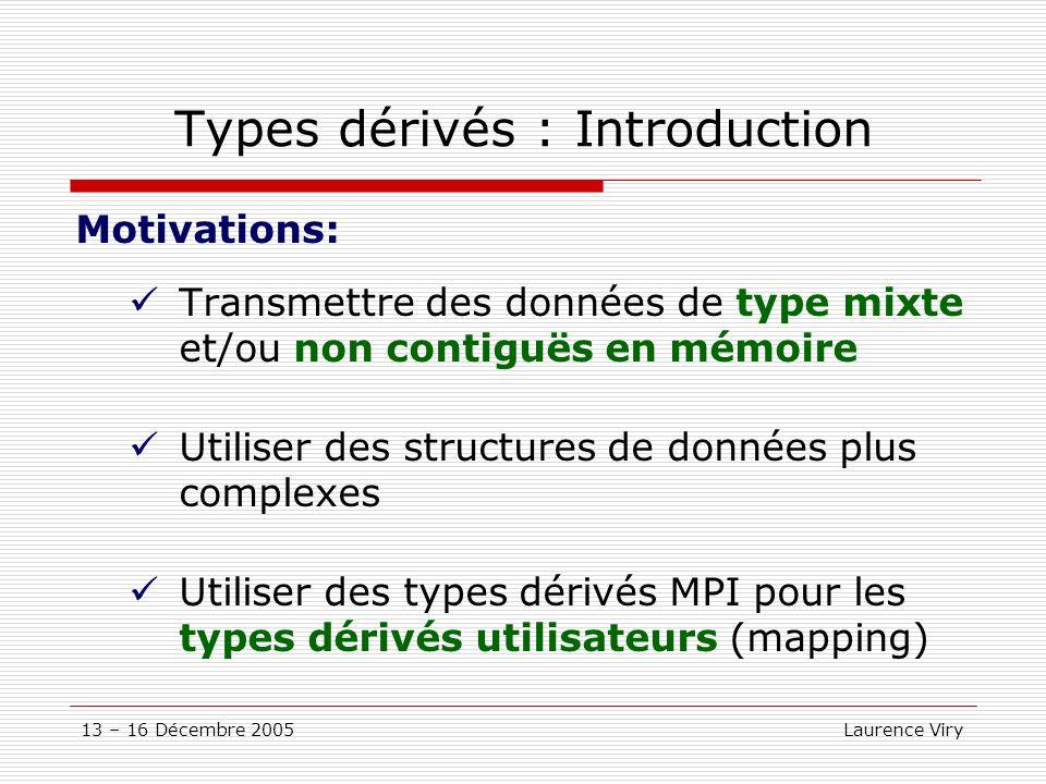 13 – 16 Décembre 2005 Laurence Viry Types dérivés : Introduction Motivations: Transmettre des données de type mixte et/ou non contiguës en mémoire Uti