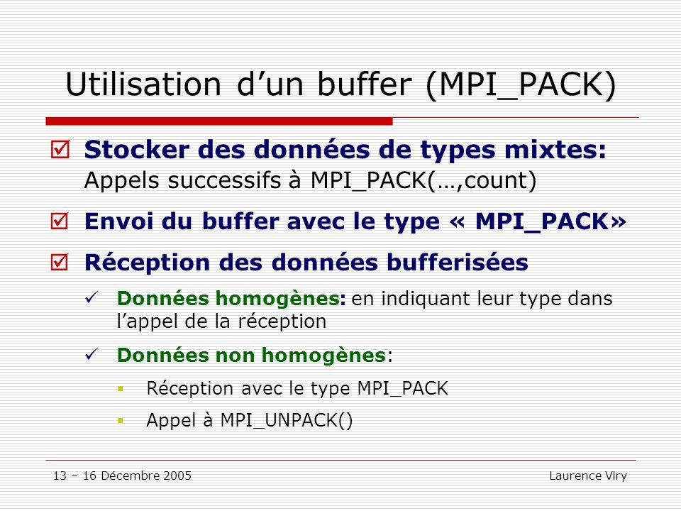 13 – 16 Décembre 2005 Laurence Viry Utilisation dun buffer (MPI_PACK) Stocker des données de types mixtes: Appels successifs à MPI_PACK(…,count) Envoi