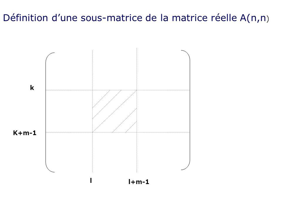 Définition dune sous-matrice de la matrice réelle A(n,n ) k K+m-1 l l+m-1