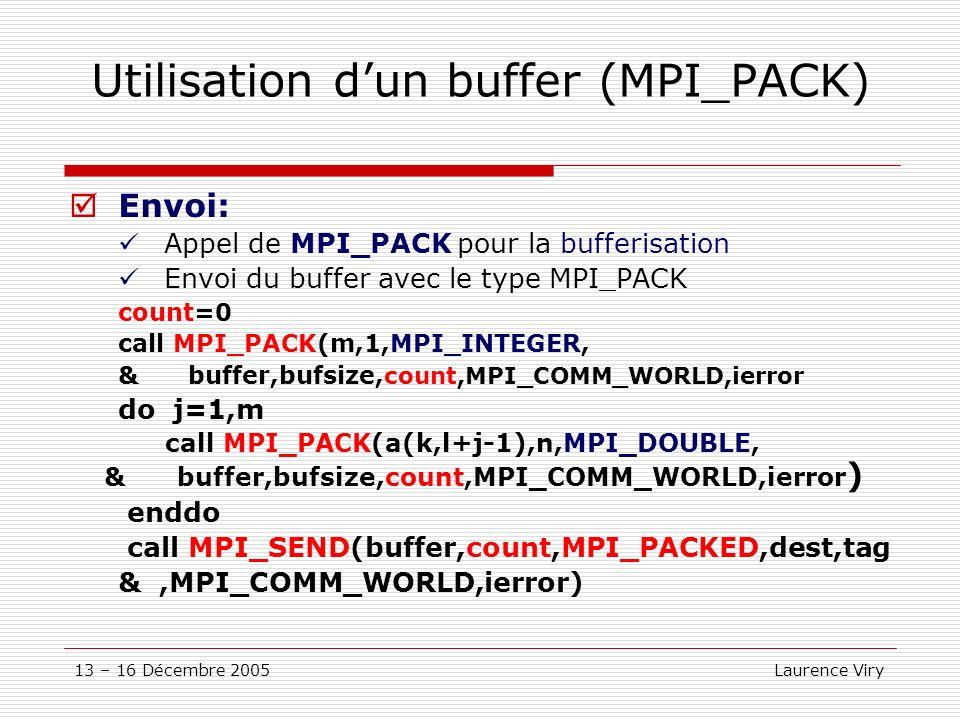 13 – 16 Décembre 2005 Laurence Viry Utilisation dun buffer (MPI_PACK) Envoi: Appel de MPI_PACK pour la bufferisation Envoi du buffer avec le type MPI_