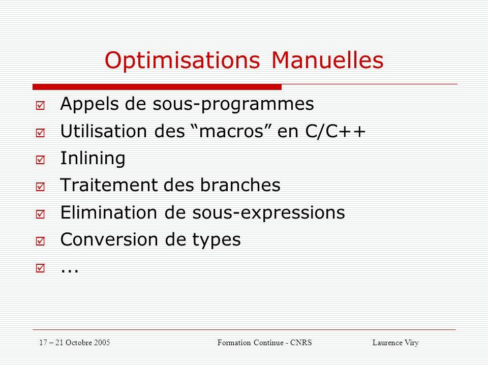 17 – 21 Octobre 2005 Formation Continue - CNRS Laurence Viry Optimisations Manuelles Appels de sous-programmes Utilisation des macros en C/C++ Inlining Traitement des branches Elimination de sous-expressions Conversion de types...