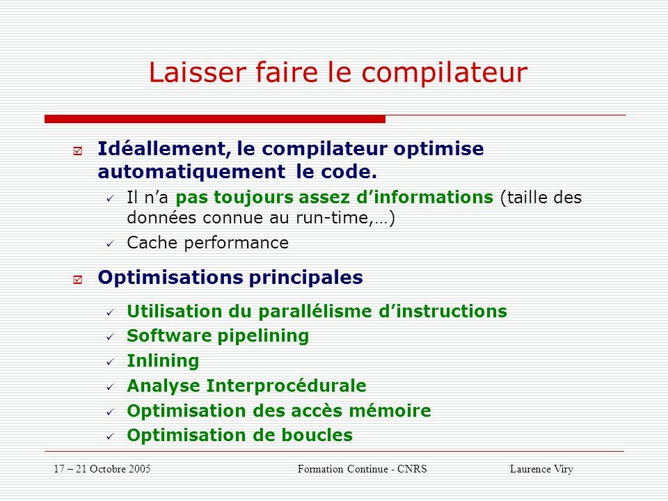 17 – 21 Octobre 2005 Formation Continue - CNRS Laurence Viry Laisser faire le compilateur Idéallement, le compilateur optimise automatiquement le code.