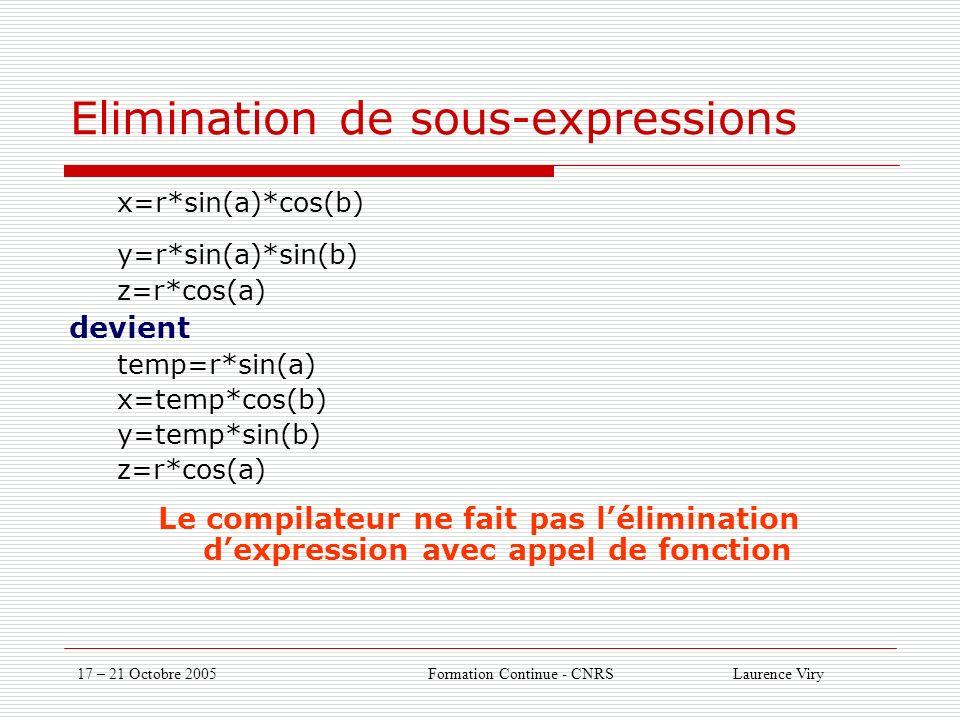 17 – 21 Octobre 2005 Formation Continue - CNRS Laurence Viry Elimination de sous-expressions x=r*sin(a)*cos(b) y=r*sin(a)*sin(b) z=r*cos(a) devient temp=r*sin(a) x=temp*cos(b) y=temp*sin(b) z=r*cos(a) Le compilateur ne fait pas lélimination dexpression avec appel de fonction