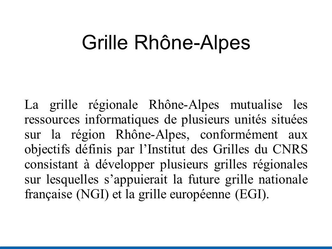 Grille Rhône-Alpes La grille régionale Rhône-Alpes mutualise les ressources informatiques de plusieurs unités situées sur la région Rhône-Alpes, conformément aux objectifs définis par lInstitut des Grilles du CNRS consistant à développer plusieurs grilles régionales sur lesquelles sappuierait la future grille nationale française (NGI) et la grille européenne (EGI).