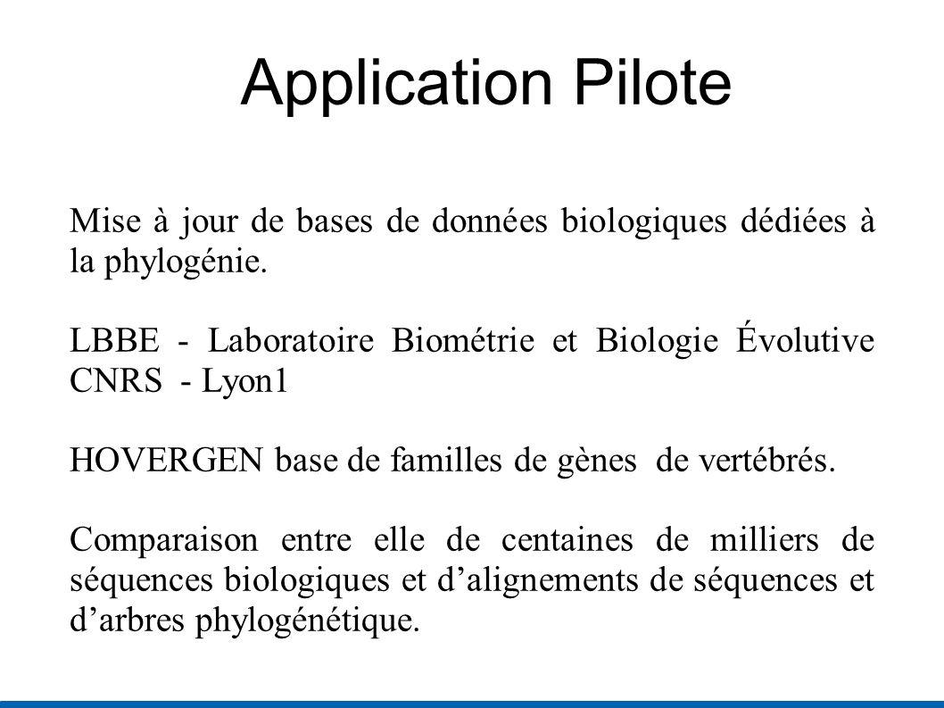 Application Pilote Mise à jour de bases de données biologiques dédiées à la phylogénie.