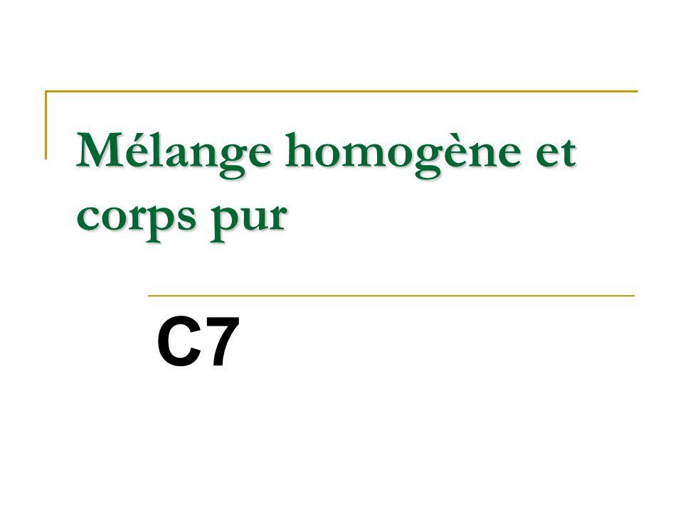 Apparence homogène ? Corps pur ? Oui ! Non !