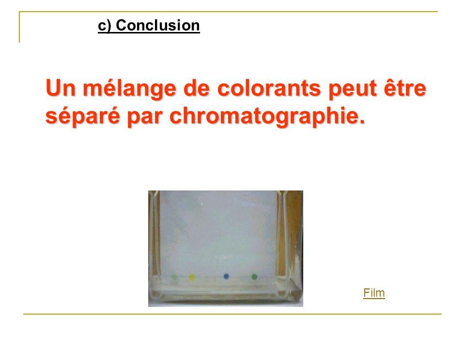 c) Conclusion Un mélange de colorants peut être séparé par chromatographie. Film