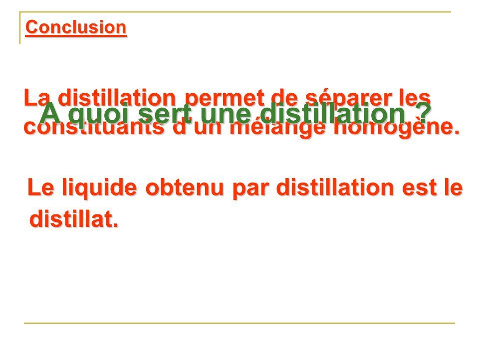 La distillation permet de séparer les constituants dun mélange homogène.
