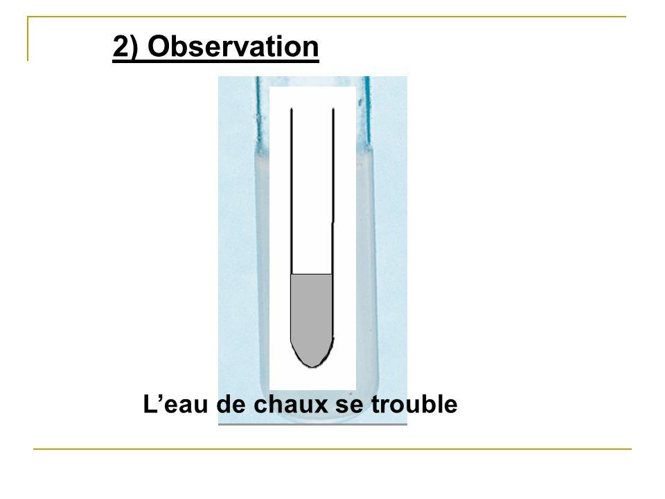 2) Observation Leau de chaux se trouble