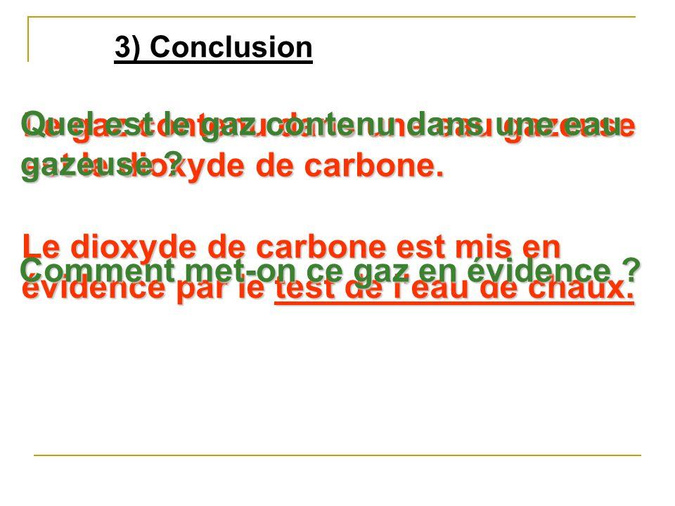 3) Conclusion Le gaz contenu dans une eau gazeuse est le dioxyde de carbone.