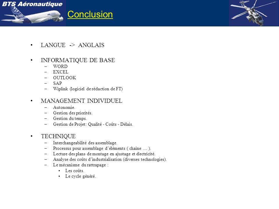 BTS Aéronautique LANGUE -> ANGLAIS INFORMATIQUE DE BASE –WORD –EXCEL –OUTLOOK –SAP –Wiplink (logiciel de rédaction de FT) MANAGEMENT INDIVIDUEL –Auton