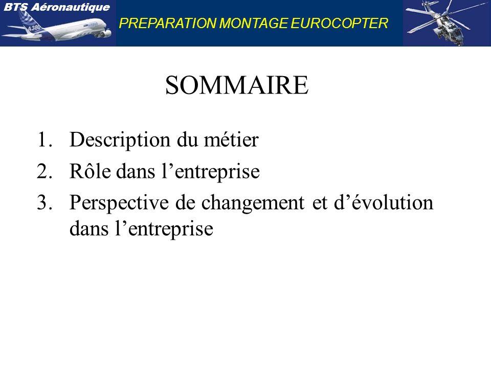 PREPARATION MONTAGE EUROCOPTER SOMMAIRE 1.Description du métier 2.Rôle dans lentreprise 3.Perspective de changement et dévolution dans lentreprise