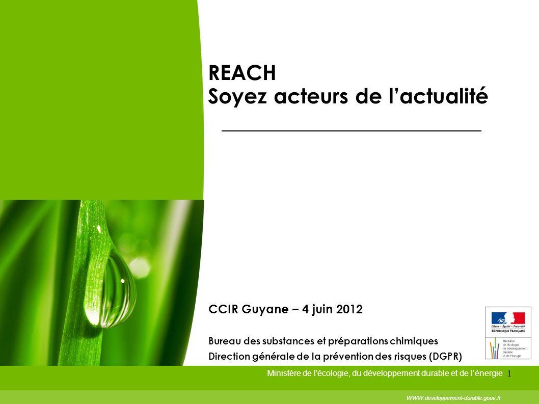 1 Ministère de l'écologie, du développement durable et de lénergie WWW.developpement-durable.gouv.fr REACH Soyez acteurs de lactualité CCIR Guyane – 4