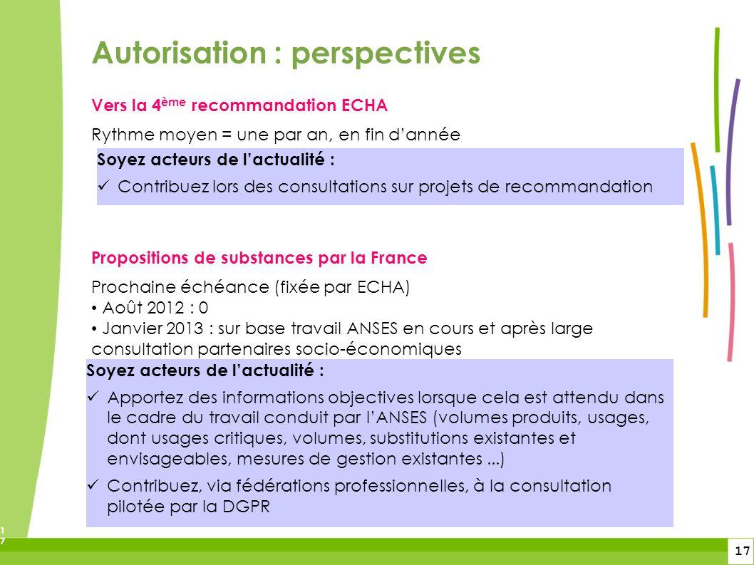 17 17 Vers la 4 ème recommandation ECHA Rythme moyen = une par an, en fin dannée Propositions de substances par la France Prochaine échéance (fixée pa