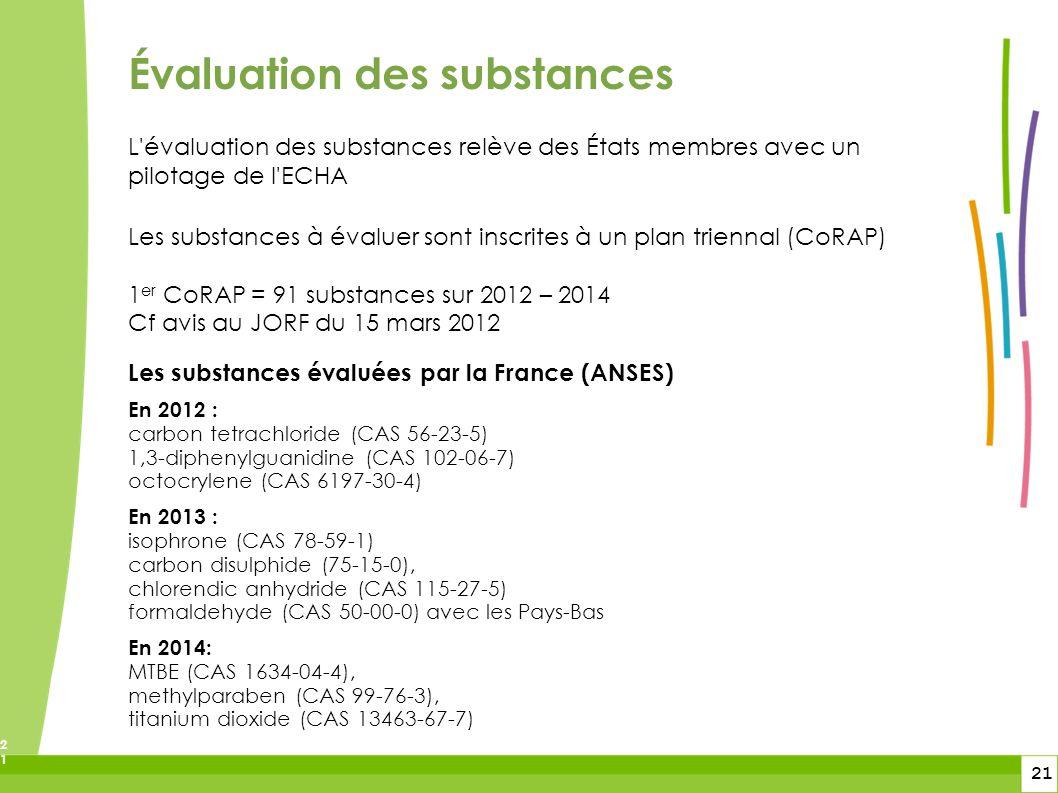 21 21 L'évaluation des substances relève des États membres avec un pilotage de l'ECHA Les substances à évaluer sont inscrites à un plan triennal (CoRA