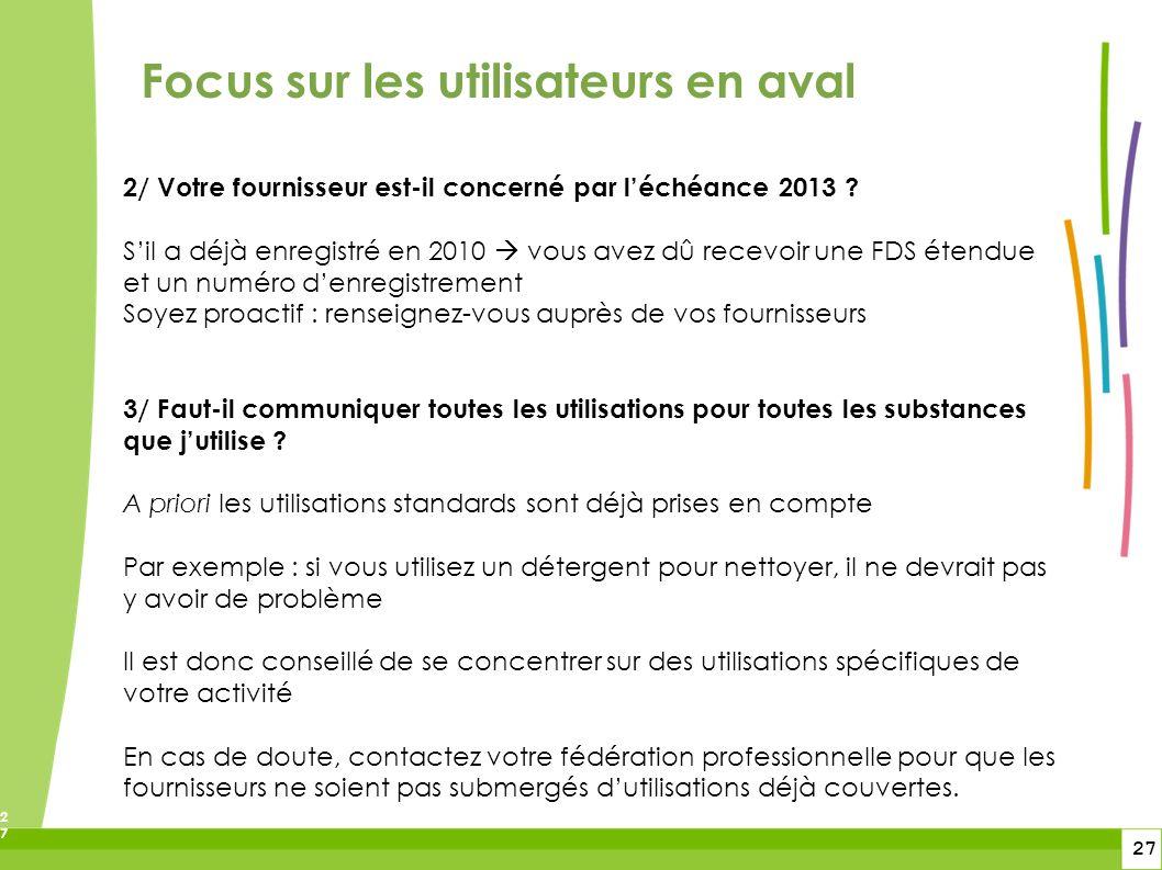 27 27 Focus sur les utilisateurs en aval 2/ Votre fournisseur est-il concerné par léchéance 2013 ? Sil a déjà enregistré en 2010 vous avez dû recevoir