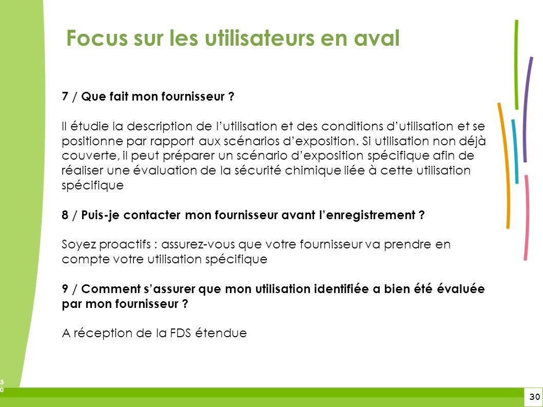 30 30 Focus sur les utilisateurs en aval 7 / Que fait mon fournisseur ? Il étudie la description de lutilisation et des conditions dutilisation et se