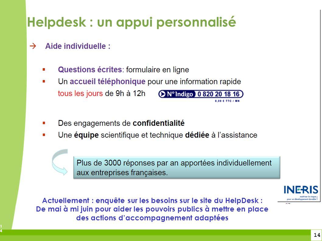 14 14 Actuellement : enquête sur les besoins sur le site du HelpDesk : De mai à mi juin pour aider les pouvoirs publics à mettre en place des actions