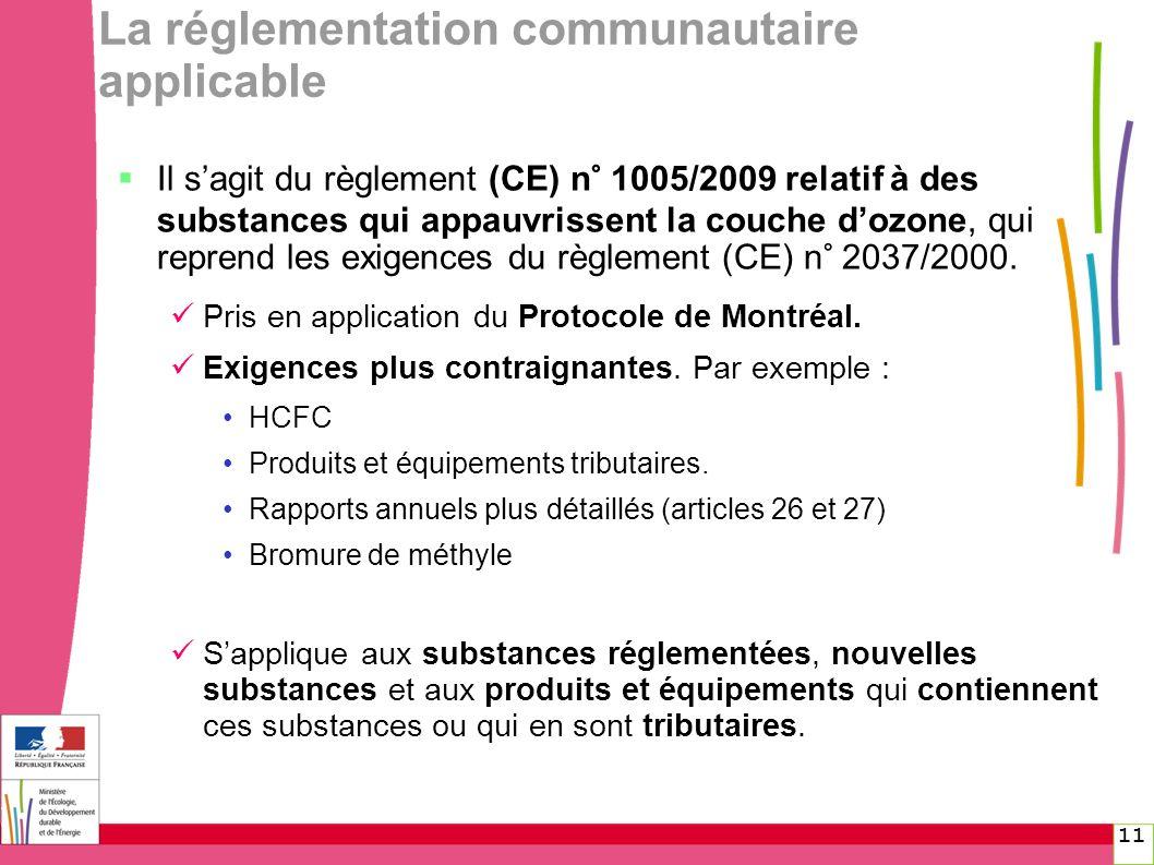 11 La réglementation communautaire applicable Il sagit du règlement (CE) n° 1005/2009 relatif à des substances qui appauvrissent la couche dozone, qui