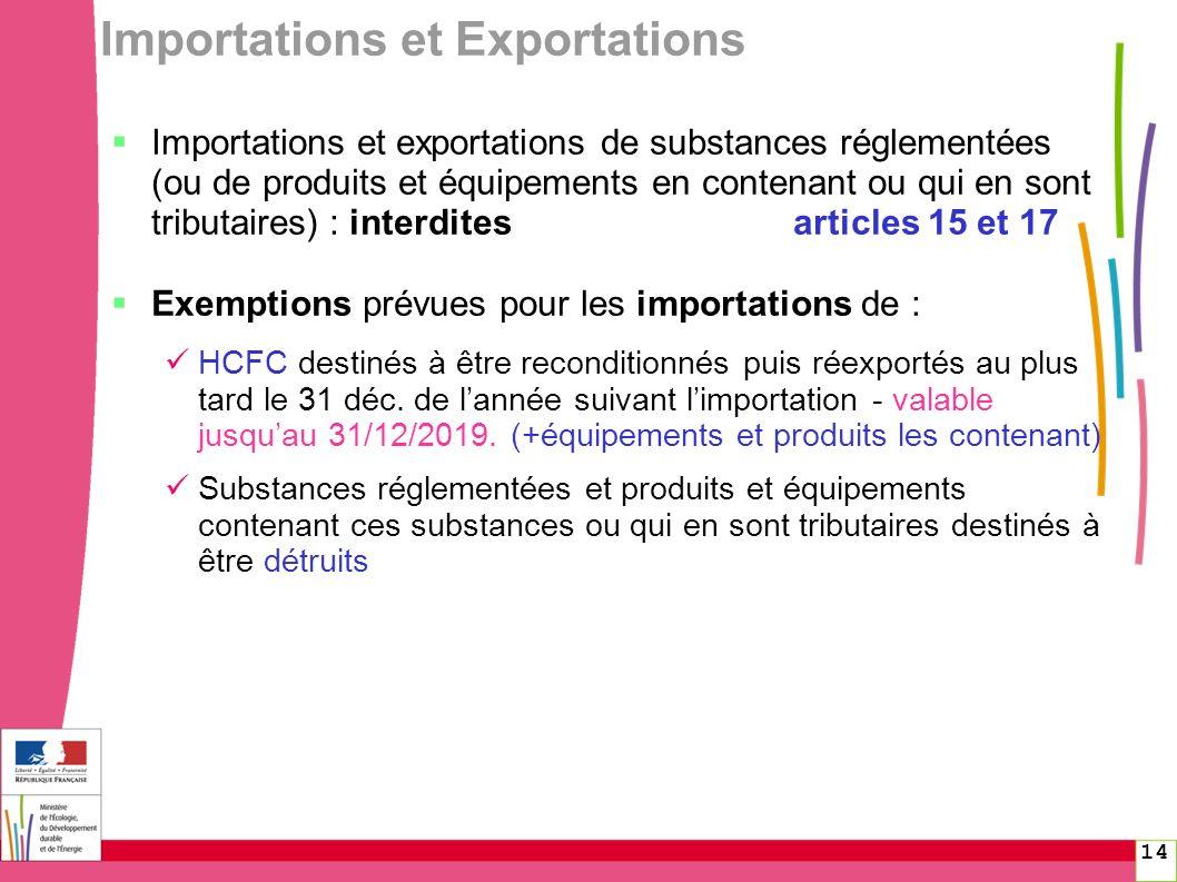 14 Importations et Exportations Importations et exportations de substances réglementées (ou de produits et équipements en contenant ou qui en sont tri