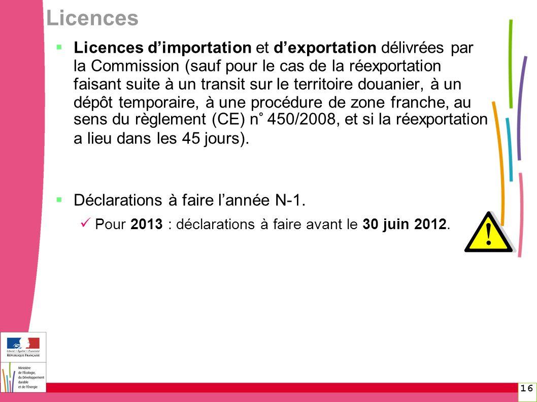 16 Licences Licences dimportation et dexportation délivrées par la Commission (sauf pour le cas de la réexportation faisant suite à un transit sur le