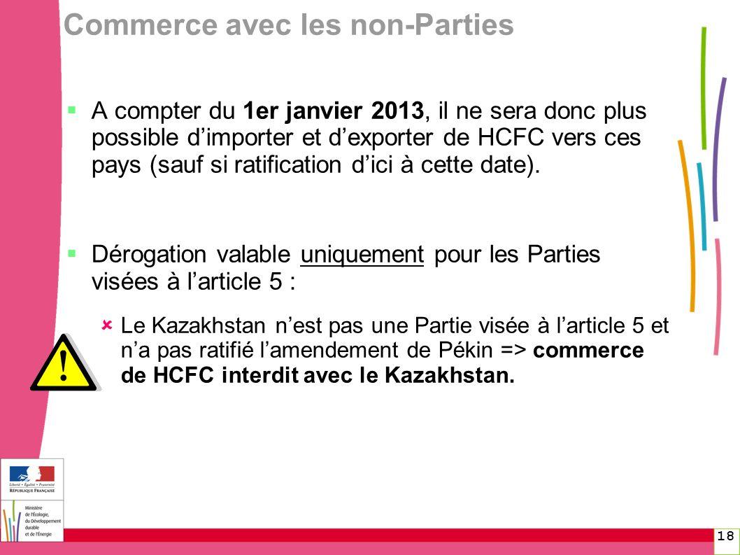 18 Commerce avec les non-Parties A compter du 1er janvier 2013, il ne sera donc plus possible dimporter et dexporter de HCFC vers ces pays (sauf si ra