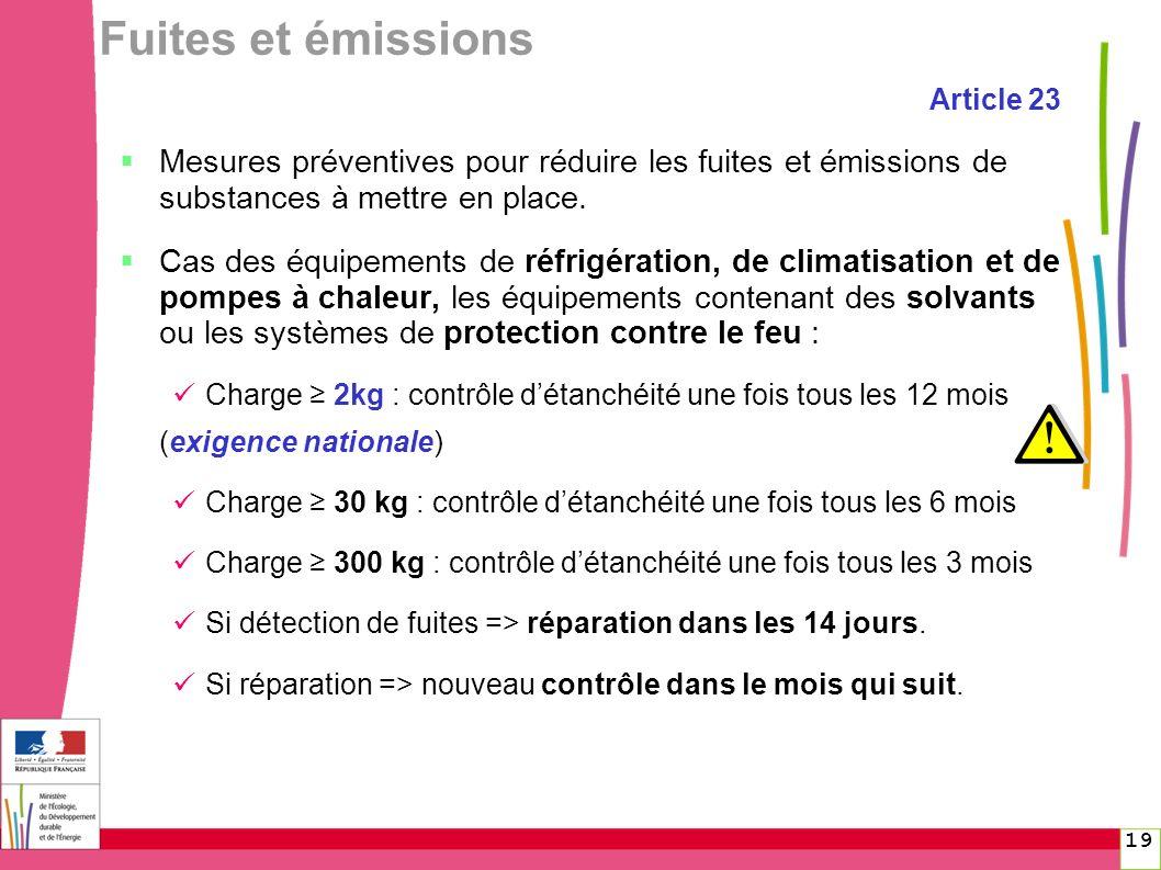 19 Fuites et émissions Article 23 Mesures préventives pour réduire les fuites et émissions de substances à mettre en place. Cas des équipements de réf