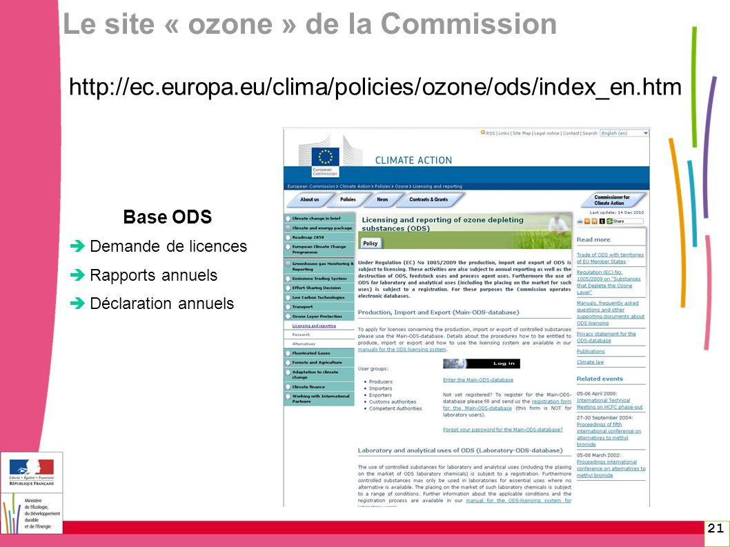 21 Le site « ozone » de la Commission http://ec.europa.eu/clima/policies/ozone/ods/index_en.htm Base ODS Demande de licences Rapports annuels Déclarat