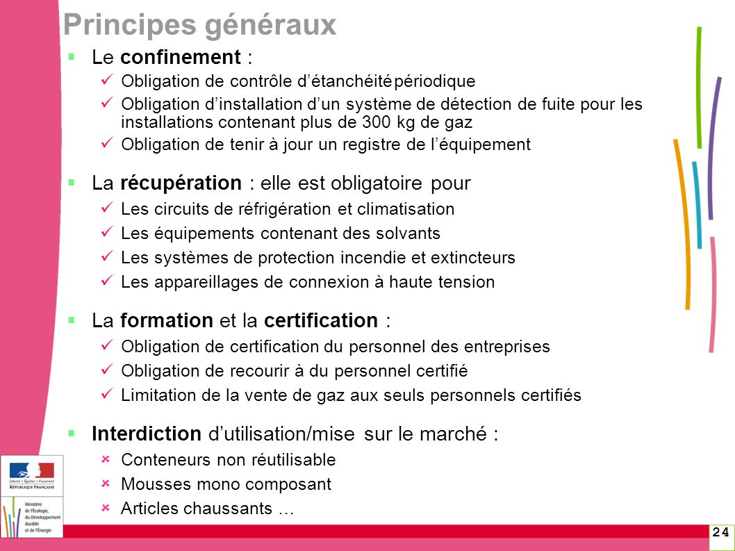 24 Principes généraux Le confinement : Obligation de contrôle détanchéitépériodique Obligation dinstallation dun système de détection de fuite pour le