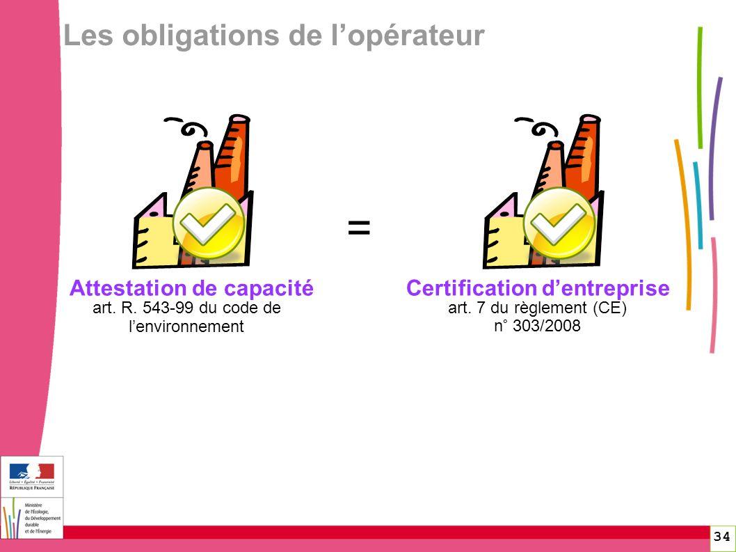 Attestation de capacité art. R. 543-99 du code de lenvironnement art. 7 du règlement (CE) n° 303/2008 Certification dentreprise = 34 Les obligations d