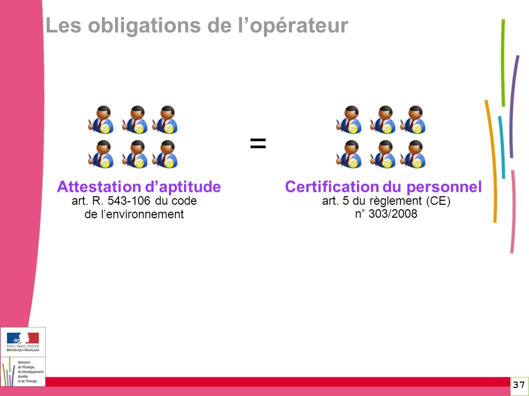 Attestation daptitude art. R. 543-106 du code de lenvironnement art. 5 du règlement (CE) n° 303/2008 Certification du personnel = 37 Les obligations d