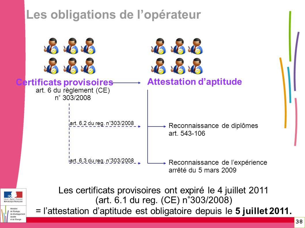 art. 6 du règlement (CE) n° 303/2008 Certificats provisoires Reconnaissance de diplômes art. 543-106 Reconnaissance de lexpérience arrêté du 5 mars 20