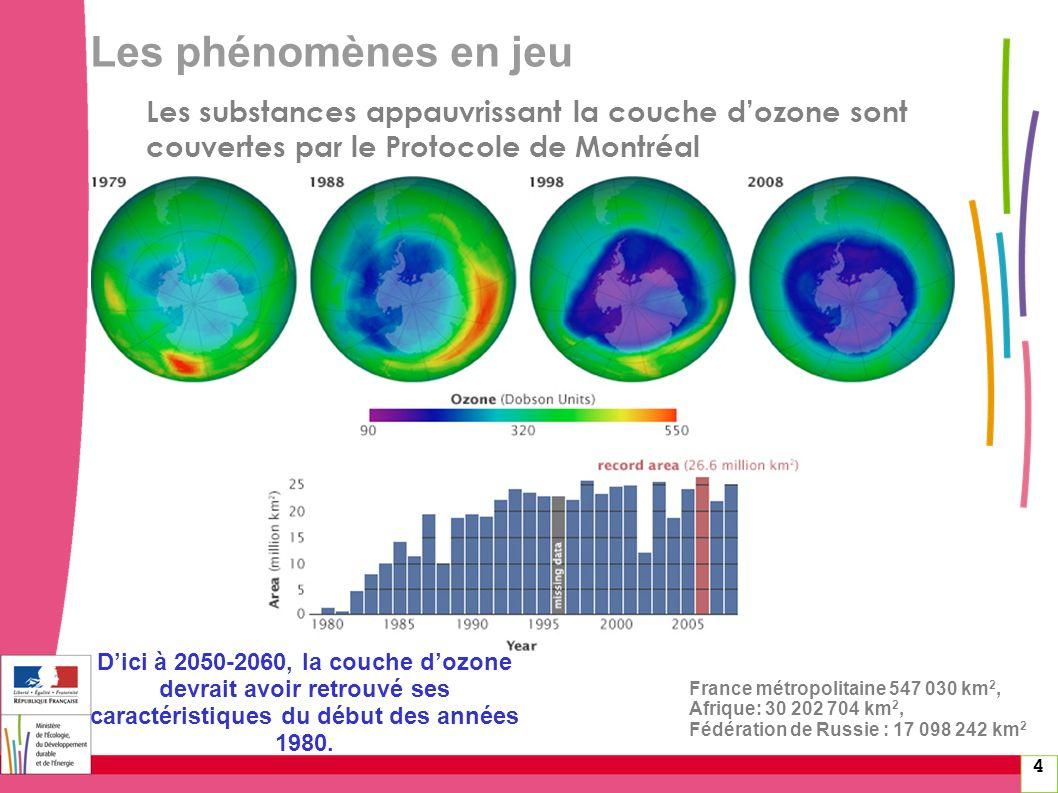 4 France métropolitaine 547 030 km 2, Afrique: 30 202 704 km 2, Fédération de Russie : 17 098 242 km 2 Les substances appauvrissant la couche dozone s
