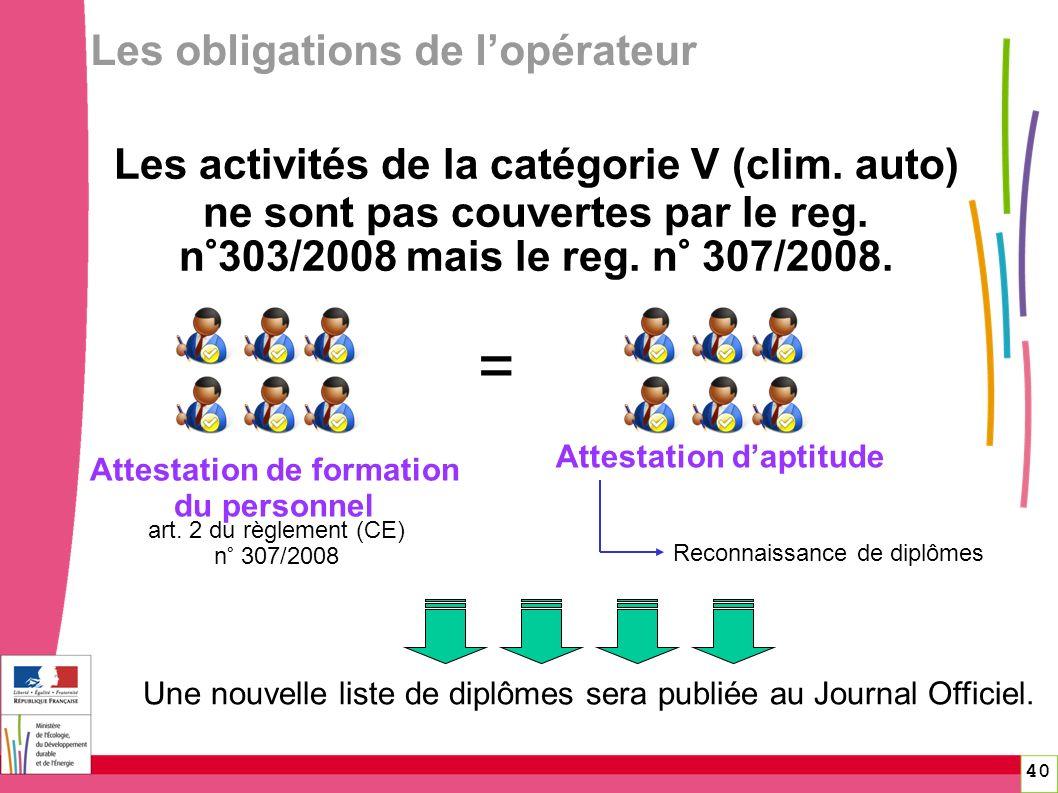 Les activités de la catégorie V (clim. auto) ne sont pas couvertes par le reg. n°303/2008 mais le reg. n° 307/2008. 40 art. 2 du règlement (CE) n° 307