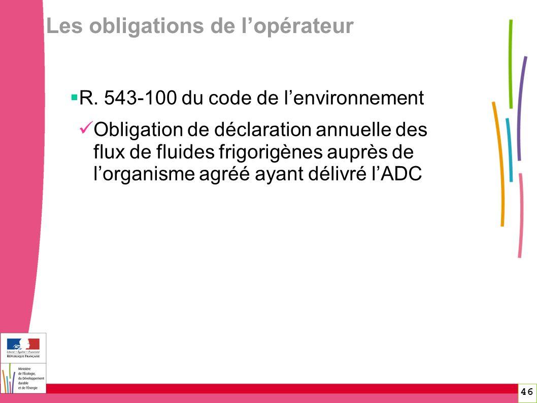 46 Les obligations de lopérateur R. 543-100 du code de lenvironnement Obligation de déclaration annuelle des flux de fluides frigorigènes auprès de lo