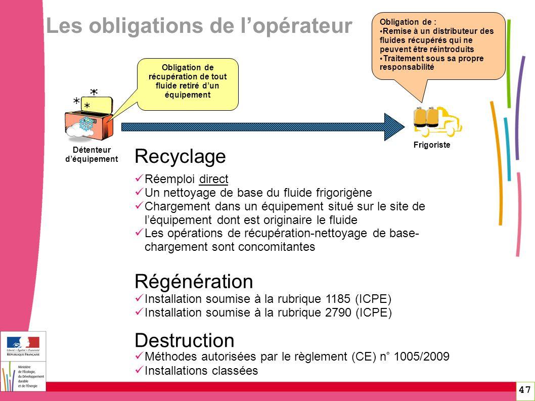 47 Les obligations de lopérateur Frigoriste Détenteur déquipement Obligation de récupération de tout fluide retiré dun équipement Obligation de : Remi