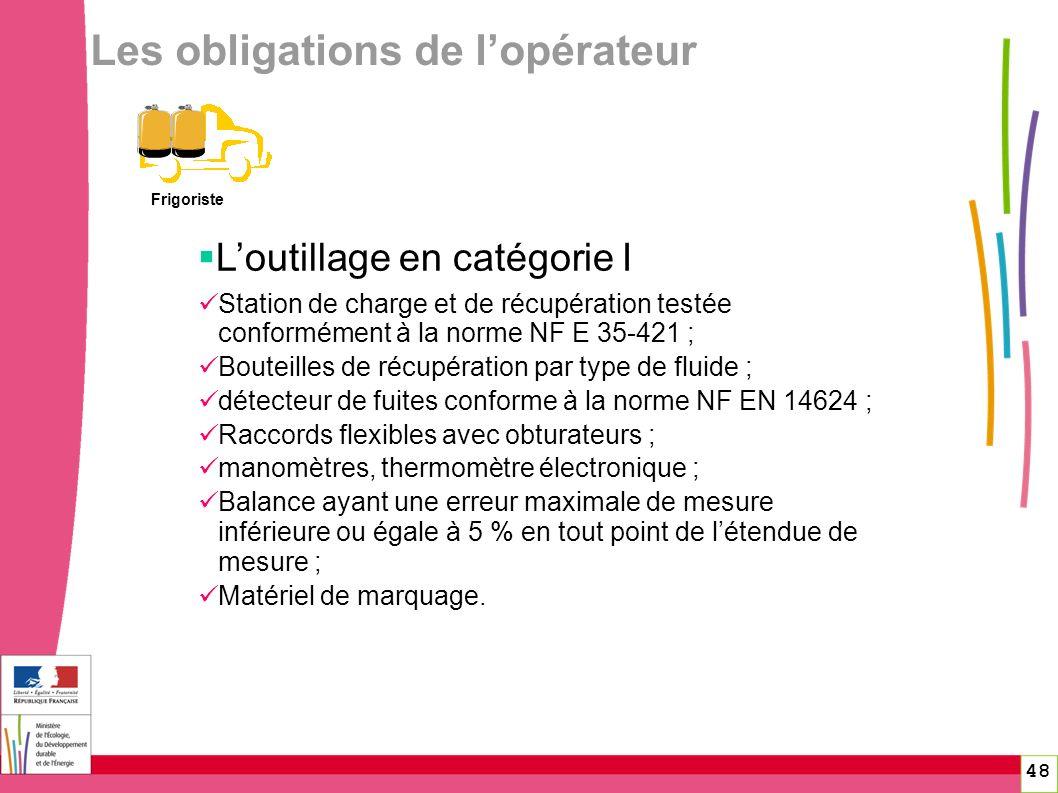 48 Les obligations de lopérateur Frigoriste Loutillage en catégorie I Station de charge et de récupération testée conformément à la norme NF E 35-421