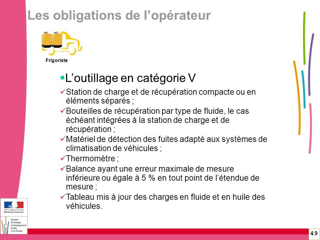 49 Les obligations de lopérateur Frigoriste Loutillage en catégorie V Station de charge et de récupération compacte ou en éléments séparés ; Bouteille